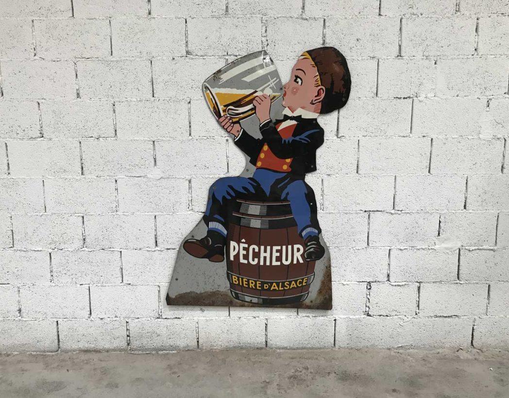 Rare Enseigne Publicitaire Biere D Alsace Pecheur En Metal Peint