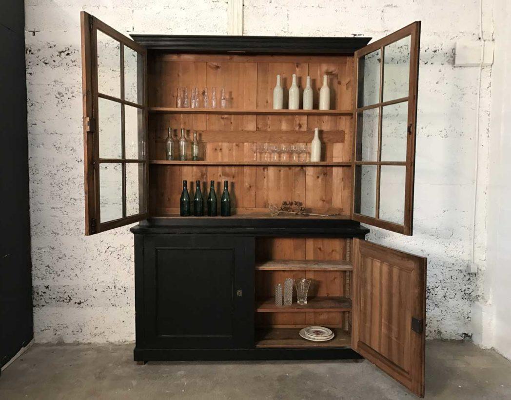 buffet 2 corps vitr napol on iii patine noire. Black Bedroom Furniture Sets. Home Design Ideas