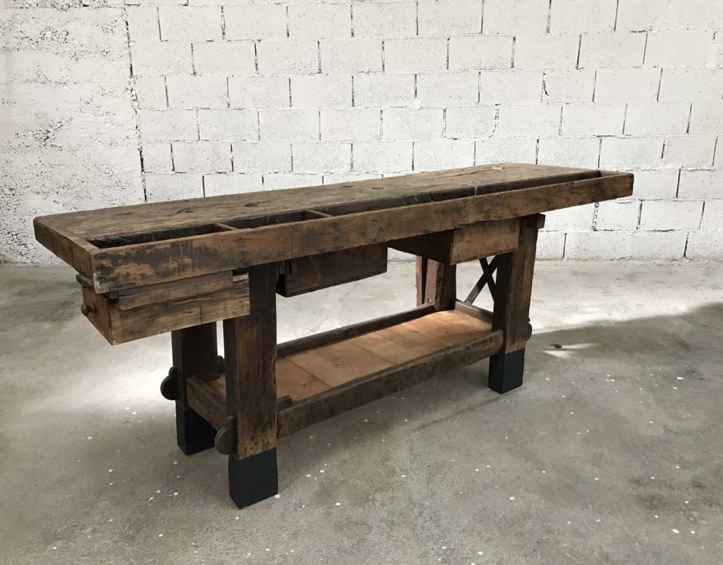 Ancien grand tabli de menuisier en bois fonc de luxe - Etabli industriel ancien ...