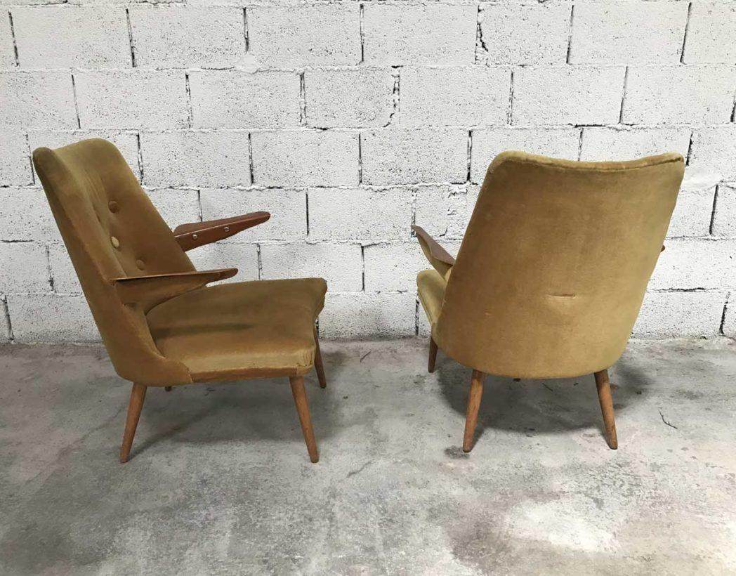 Paire fauteuils vintage cz design velours champagne - Fauteuil design annee 60 70 ...