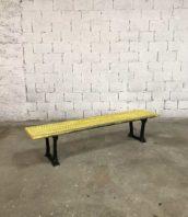 banc usine metal jean prouve jaune industriel 5francs 1 172x198 - Ancien banc d'usine fonte et métal patine jaune