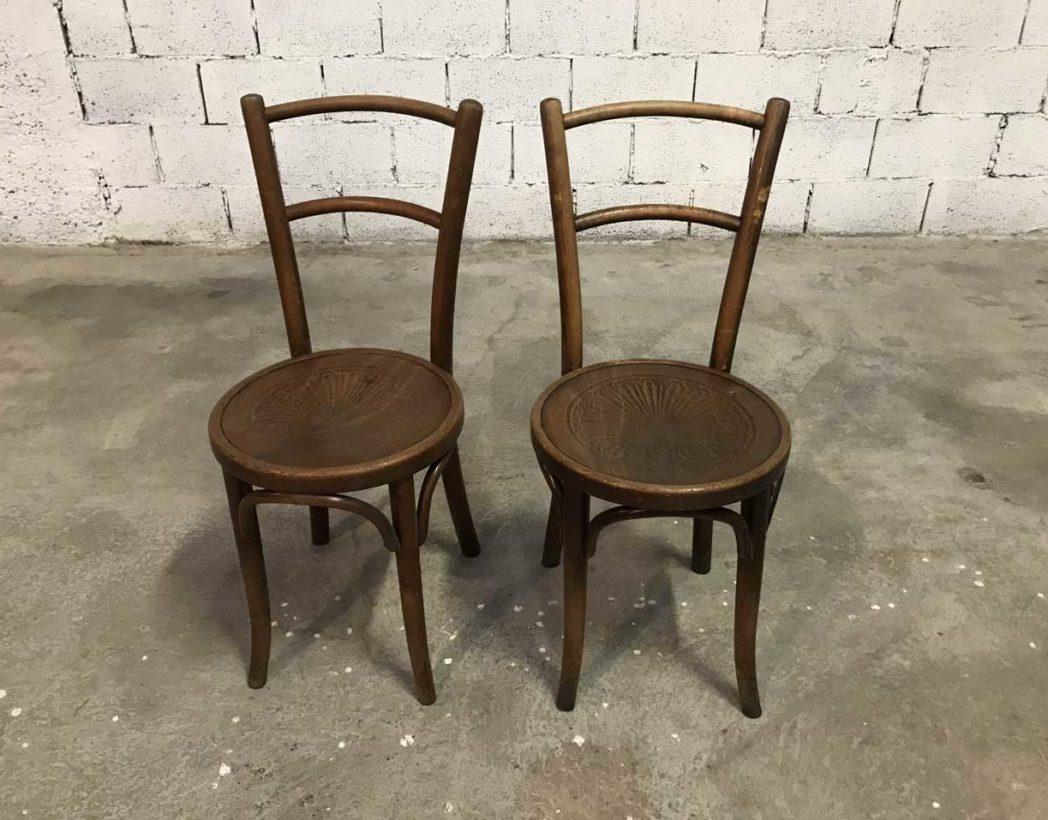 Ensemble de 6 chaises baumann assise ronde 1930 for Ensemble table ronde 4 chaises