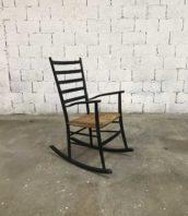rocking chair fauteuil bascule scandinave assise paille 5francs 1 172x198 - Fauteuil rocking-chair scandinave noir paillée début XXème