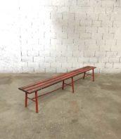 ancien banc usine rouge 260cm ecole vintage bois metal 5francs 1 172x198 - Ancien banc d'école bois et métal en 260 cm patine d'origine rouge