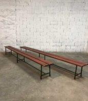 ancien banc usine rouge 380cm ecole vintage bois metal 5francs 1 172x198 - Lot anciens grands bancs d'école en 380 cm patine rouge et vert