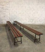 ancien banc usine rouge 400cm ecole vintage bois metal 5francs 1 172x198 - Lot ancien grands bancs d'école en 4m patine rouge