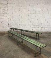 ancien banc usine vert 275cm ecole vintage bois metal 5francs 0 172x198 - Lot anciens bancs école patine vert bleu en 275 cm