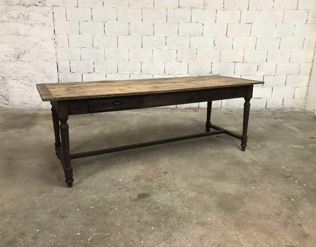 Ancienne Table Année 1900 Pieds Tournés En Bois Massif