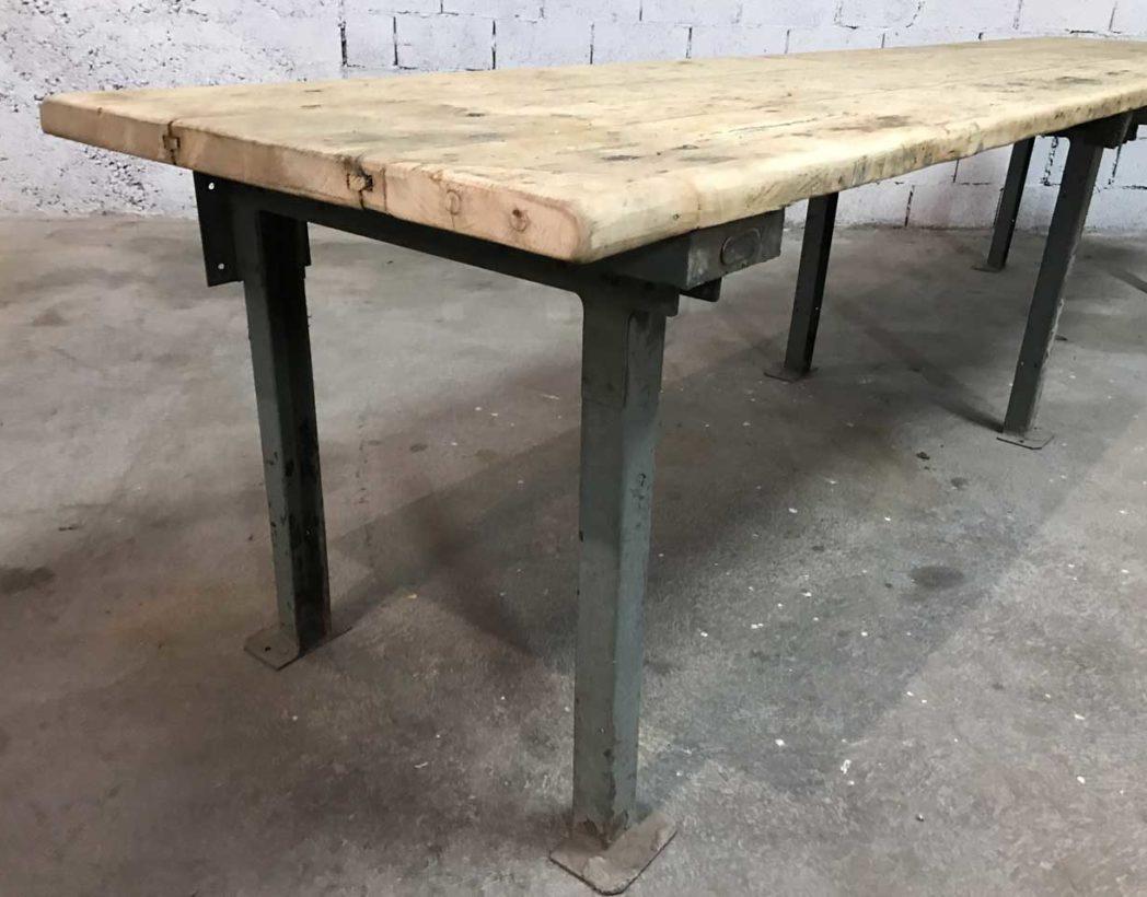 immense table de travail d 39 atelier bois et m tal 377 cm. Black Bedroom Furniture Sets. Home Design Ideas