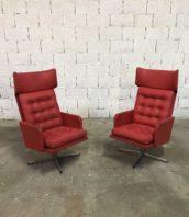paire fauteuils rouge annee 70 vintage 5francs 2 172x198 - Paire de fauteuils vintages rouges années 70 en simili cuir