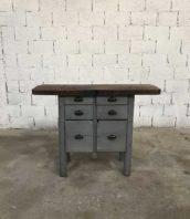 petit etabli cordinnier tiroirs meuble metier 5francs 1 172x198 - Ancien petit établi de cordonnier patine grise