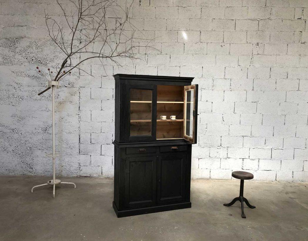 ancienne petite biblioth que patine noire en pin. Black Bedroom Furniture Sets. Home Design Ideas