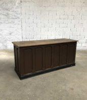 banque ancienne magasin 200cm patine marron meuble metier 1 172x198 - Ancienne banque de commerce patine marron