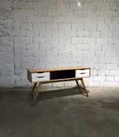 enfilade creation tiroirs blancs chene vintage 5francs 1 172x198 - Console création en chêne massif