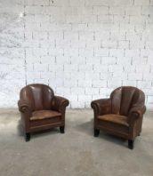 paire ancien fauteuil club annee 50 cuir 5francs 1 172x198 - Paire fauteuils club cuir années 50
