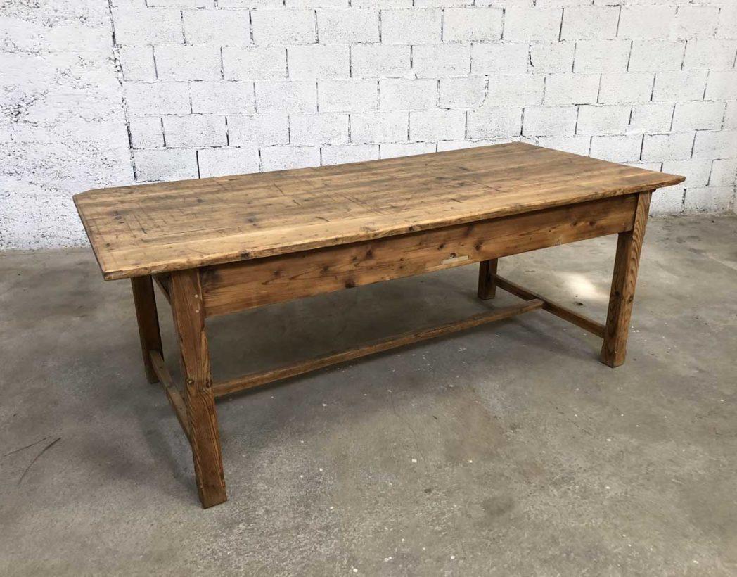 table de ferme ancienne en pin 214cm. Black Bedroom Furniture Sets. Home Design Ideas