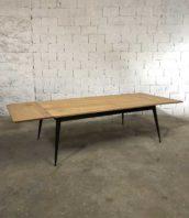 table manger bois metal rallonge tolix revisite 5francs 0 172x198 - Table en chêne et pied compas métal Tolix revisité avec rallonges