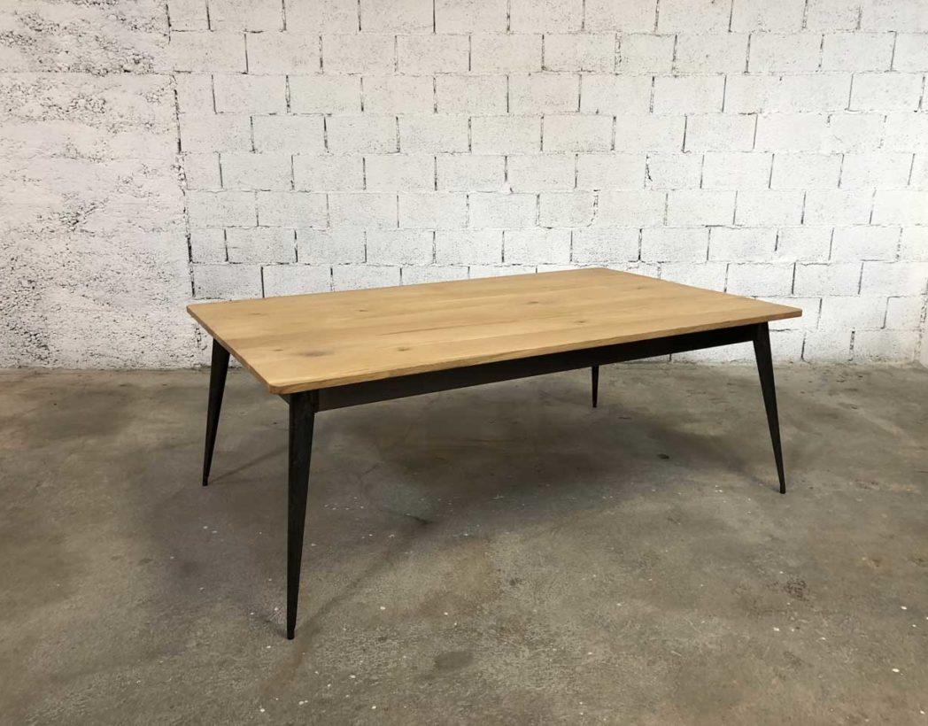 Table plateau chêne et pieds compas métal Tolix revisitée by 12FRANCS
