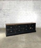ancienne banque tiroirs magasin tissu meuble metier 5francs 1 172x198 - Ancienne grande banque double face de mercerie 8 tiroirs