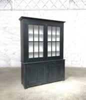 ancienne bibliothèque pin patine noire vitree 5francs 1 172x198 - Ancienne bibliothèque 2 corps en pin patine noire année 1900