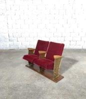 fauteuil double cinema velour annee50 retro vintage 5francs 1 172x198 - Ancien fauteuil double en velours de cinéma année 50