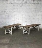 table guiguette bois patine blanche 296cm 5francs 1 172x198 - Ancienne grande table de guinguette en bois  296 cm