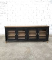 enfilade vitree vintage bois porte coulissante noire 5francs 1 172x198 - Enfilade portes vitrées coulissantes vintage patine noire 225 cm