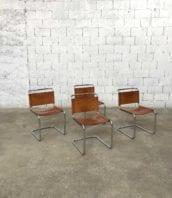 ensemble 4 chaises cuir marcel breuer b33 cuir fauve vintage 5francs 1 172x198 - Ensemble de 4 chaises cuir fauve Marcel BREUER modèle B33
