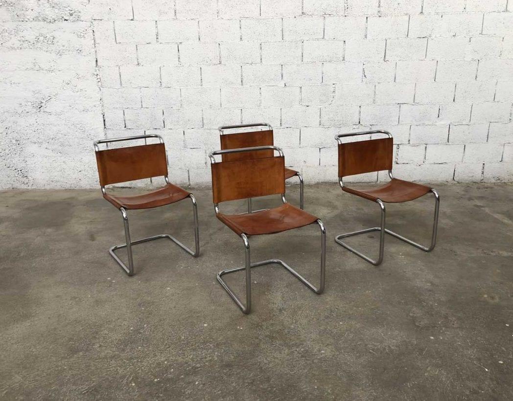 Ensemble de 4 chaises cuir fauve Marcel BREUER modèle B33