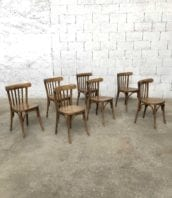 lot 29 chaises bistrot style baumann 5francs 1 172x198 - Ensemble de 14 chaises bistrot anciennes dans le style Baumann