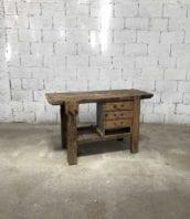etabli bois menuisier avec tiroirs 134cm 5francs 2 172x198 - Établi en bois de menuisier avec tiroirs années 30 longue 134cm