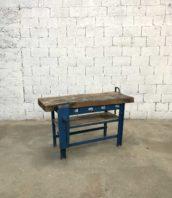 ancien etabli 143cm bois metal patine bleu 5francs 1 172x198 - Ancien établi d'atelier en bois et métal avec patine bleue 143cm