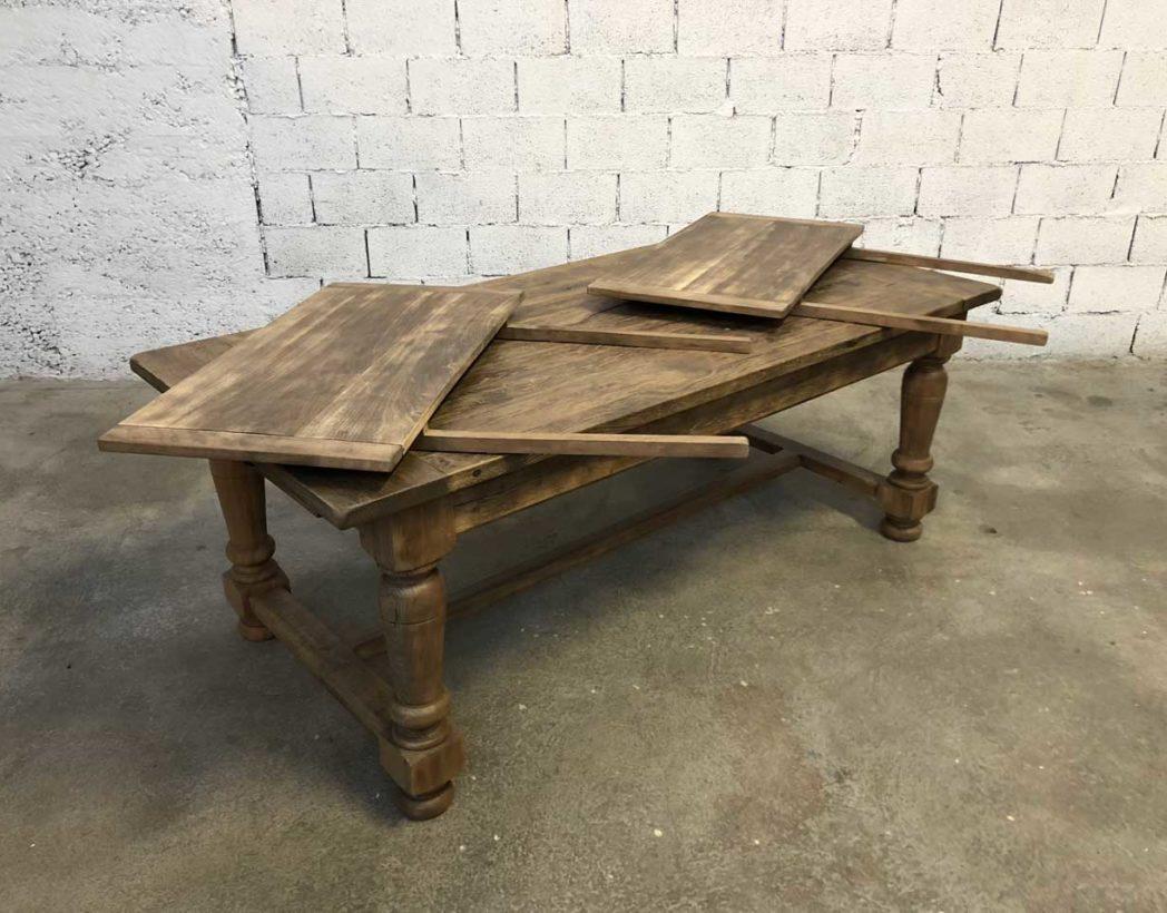 Ancienne table de ferme en chêne avec rallonges 12cm