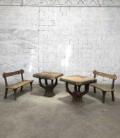 """table bancs faux bois rocaille jardin vintage 5francs 1 172x198 - Ensemble de 2 bancs et 2 tables en béton faux bois """"rocaille"""""""