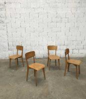 Lot 4 chaises vintage bois courbe bistrot assise 45cm 5francs 1 172x198 - Lot de 4 chaises vintage pieds compas années 60 hauteur d'assise 45cm