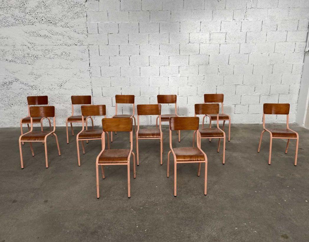Chaise D École Mullca ensemble de 12 chaises d'école mullca 510 avec patine rose