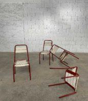 ensemble 4 chaises de jardin metal bois rouge blanche hauteur assise 44cm 5francs 1 172x198 - Ensemble 4 chaises de jardin métal et bois rouge et blanche