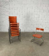 ensemble de 9 chaises metal orange empilables annee 70 hauteur assise 44cm 5francs 1 172x198 - Ensemble de 9 chaises métal orange de Fredrich August Schadler