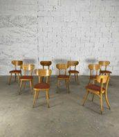 lot de 39 chaises baumann pieds rentrant assise simili cuire rouge chiné hauteur assise 47cm 5francs 1 172x198 - Ensemble de 39 chaises Baumann pieds rentrants assise simili cuire