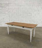 table ferme pieds travaillés cadre blancs 183cm 5francs 1 172x198 - Table de ferme pieds travaillés avec cadre blancs longueur 183 cm