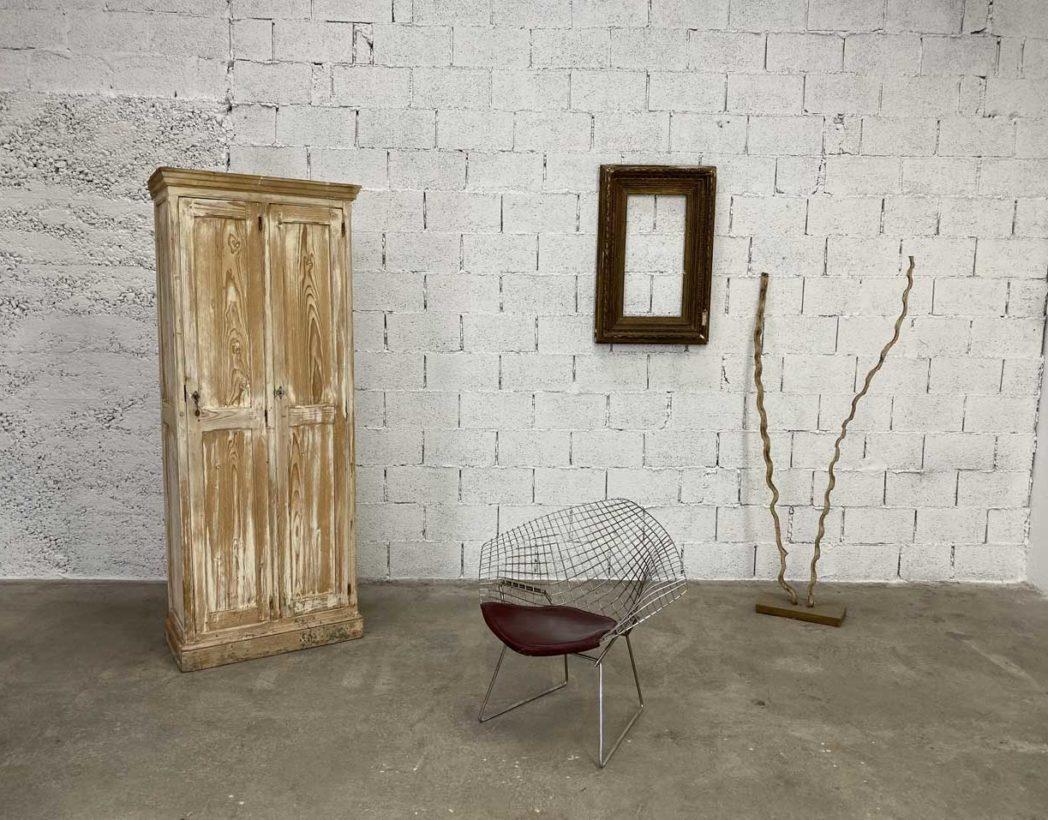 Patine Blanche Sur Bois vestiaire en bois vintage blanc avec 2 portes hauteur 200cm
