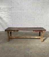 ancien etabli primitif art populaire bois 260cm patine 5francs 1 172x198 - Ancien grand établi primitif en bois massif patine d'origine 260 cm