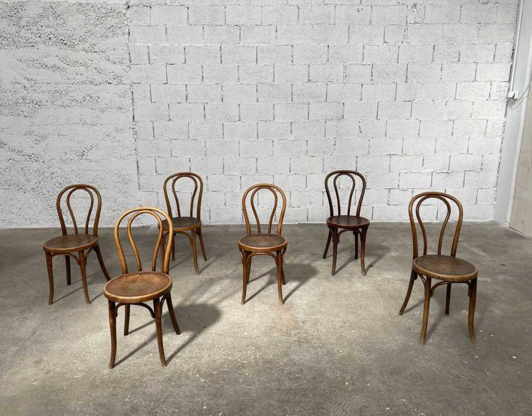 Ensemble De 6 Chaises De Bistrot Thonet Modele N 14