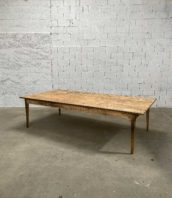 grande table ferme metier laiton 292cm 5francs 1 172x198 - Ancienne grande table de métier en pin avec bords laiton 292 cm