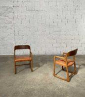paire fauteuil baumann traineau cuir vintage 5francs 1 172x198 - Paire fauteuils Baumann modèle traineau assise cuir