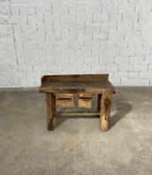 petit etabli primitif art populaire 110cm 5francs 1 172x198 - Petit établi primitif 110 cm en chêne avec ses 2 tiroirs