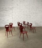 """lot 8 chaises baumann modele mouette rouge basque petit dossier 5francs 1 172x198 - Ensemble de 8 chaises Baumann modèle """"Mouette"""" rouges petit dossier"""