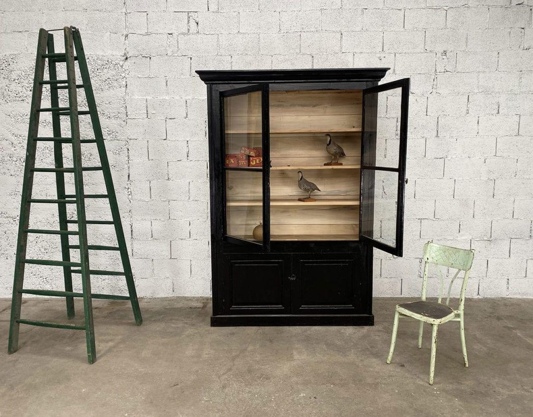 bibliotheque-vitrine-pin-19eme-patine-noire-5francs-4