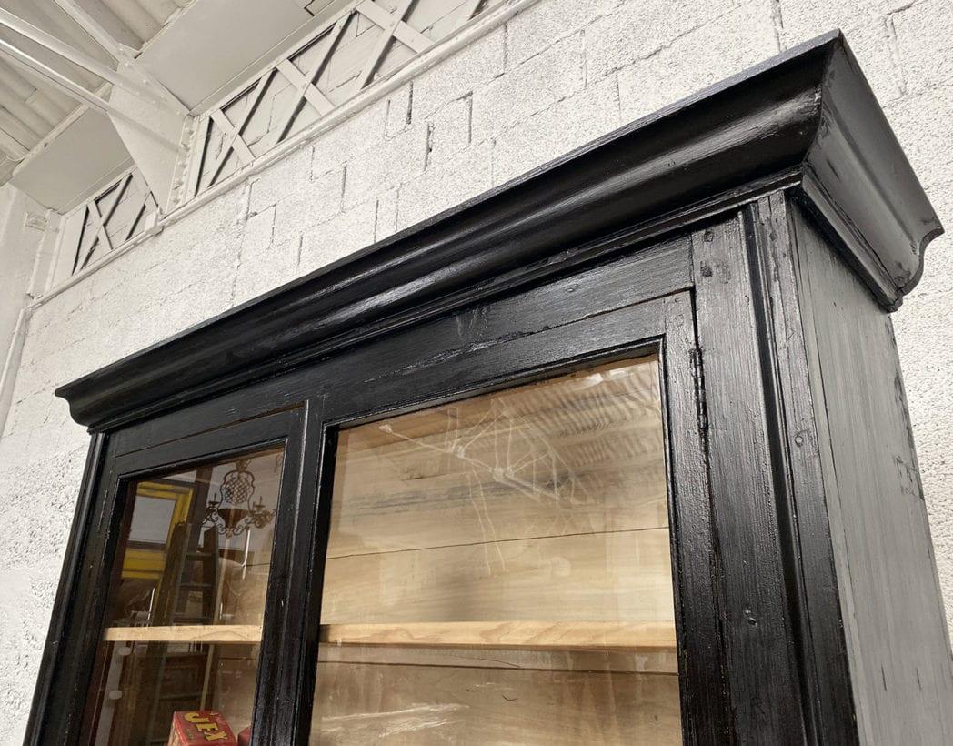 bibliotheque-vitrine-pin-19eme-patine-noire-5francs-8