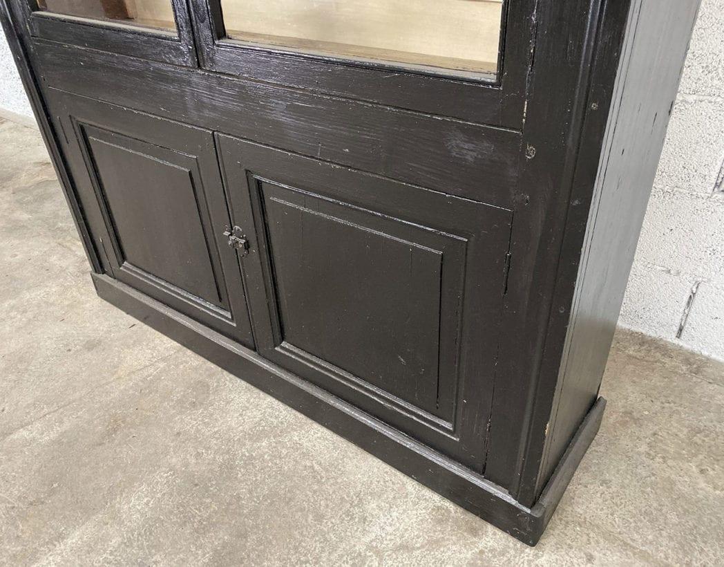 bibliotheque-vitrine-pin-19eme-patine-noire-5francs-9